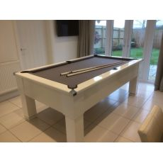 Cry Wolf - Gloss White Square Leg - Slate Pool Table - 6 & 7ft