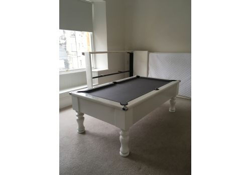 CryWolf Gloss White Turned/Round Leg Pool Table with Smart Pewter cloth