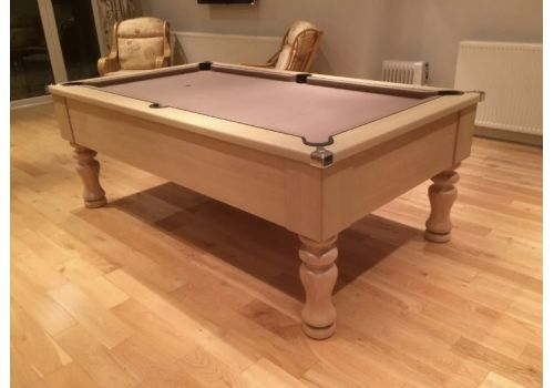 CryWolf Light Oak Turned/Round Leg Pool Table with Smart Silver Cloth