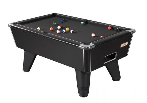 Supreme Winner pool table in Black Pearl with Black Cloth