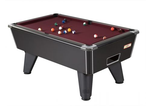 Supreme Winner pool table in Black Pearl with Burgandy Cloth