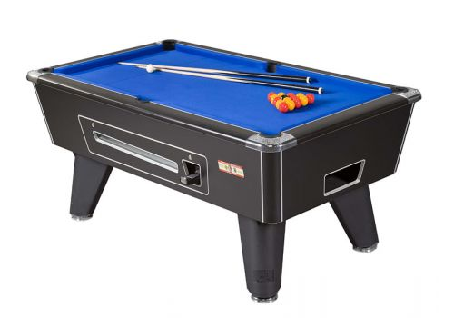 Supreme Winner pool table in Black Pearl with Blue Cloth