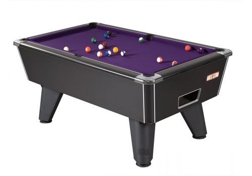 Supreme Winner pool table in Black Pearl with Purple Cloth