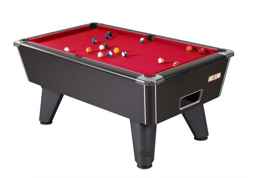 Supreme Winner pool table in Black Pearl with Red Cloth