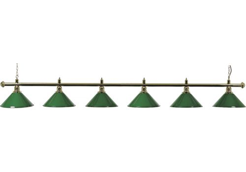 Brass Lamp with 6 Green Shades