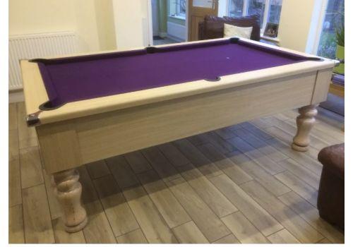 CryWolf Light Oak Turned/Round Leg Pool Table with Smart Purple Cloth