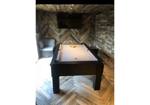 CryWolf Matt Black Square Leg Pool Table with Smart Silver