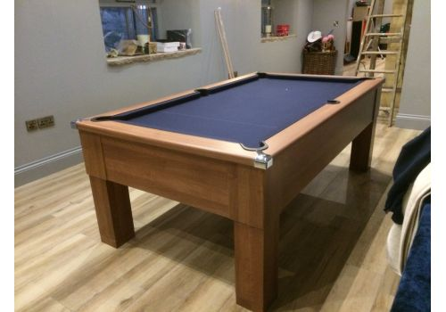 CryWolf French Walnut Square Leg Pool Table with Smart Royal Navy