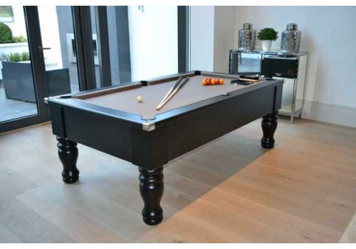 Cry Wolf Geordie Pool Table in Matt Black with Round/Turned Legs and Smart Silver Cloth