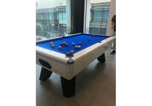 White Wolf Gloss White Tournament Edition Pool Table with smart royal blue cloth