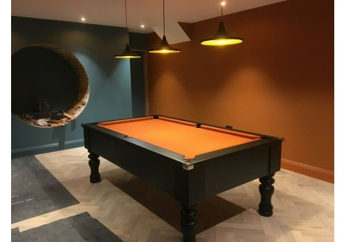 Cry Wolf Geordie Pool Table in Matt Black with Round/Turned Legs and Smart Orange Cloth