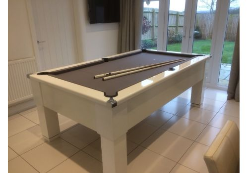 CryWolf Gloss White Square Leg Pool Table with Smart Silver