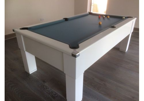 CryWolf Gloss White Square Leg Pool Table with Smart Powder Blue
