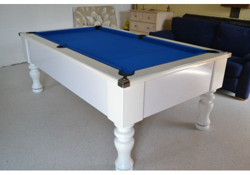 CryWolf Gloss White Turned/Round Leg Pool Table with Smart Royal Blue