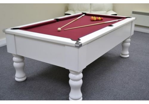 CryWolf Gloss White Turned/Round Leg Pool Table with Smart Maroon Cloth