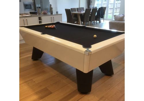 White Wolf Gloss White Original Tournament Edition Pool Table with smart black cloth