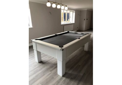 CryWolf Gloss White Square Leg Pool Table with Smart Pewter