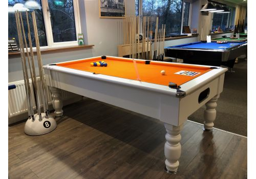 Special Edition Rennes slate bed pool table by Optima in white with smart orange cloth