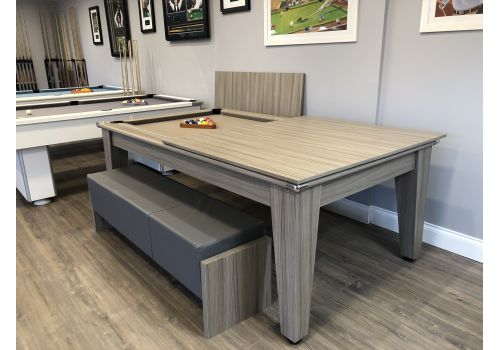 Gatley Classic Diner Pool Table in Driftwood with matching benches and table top stand