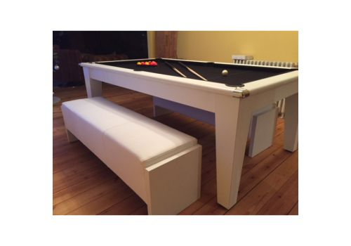Gatley Classic Diner Pool Table in White with Smart Black + White Bench