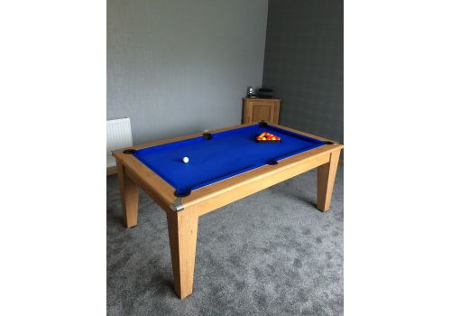 Classic Diner Pool Table in Oak with Smart Royal Blue