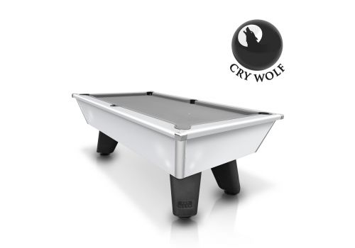 White Wolf Gloss White Original Tournament Edition Pool Table with smart silver cloth