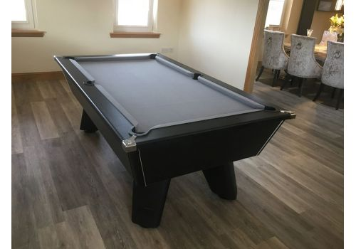 Black Wolf Matt Black Original Tournament Edition Pool Table with Smart Silver