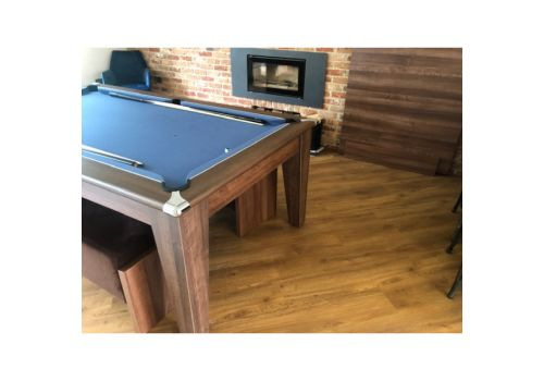 Gatley Classic Diner Pool Table in Dark Walnut with Elite Pro Electric Blue + Table Top Stand & Lids