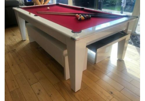 The Classic Diner Gloss White Pool Table with Smart Windsor Red