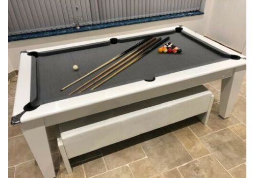 The Classic Diner Gloss White Pool Table with Smart Pewter Cloth