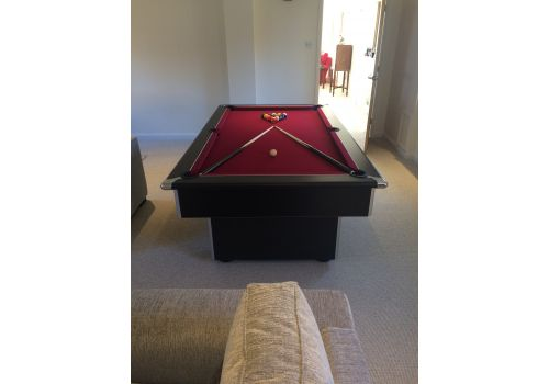 Gatley Classic Slimline Pool Table In Black with Club Burgandy Cloth