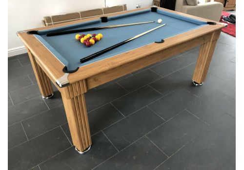 Gatley Traditional Diner Pool Table in Oak with Powder Blue Smart Cloth