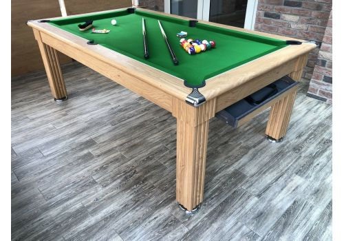 Gatley Traditional Diner Pool Table in Oak with Olive Smart Cloth
