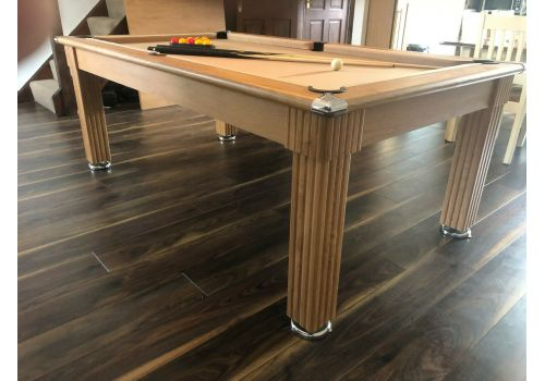 Gatley Traditional Diner Pool Table in Oak with Taupe Smart Cloth