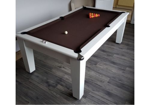 Optima Roma Pool Dining Table in White with Smart Nutmeg