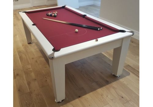 Optima Roma Pool Dining Table in White with Club Burgundy Cloth