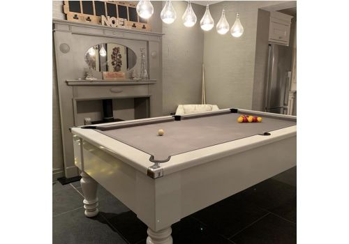 CryWolf Gloss White Classic Leg Pool Table with Elite Pro Bankers Grey