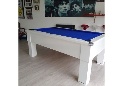 CryWolf Gloss White Square Leg Pool Table with Smart Royal Blue Cloth