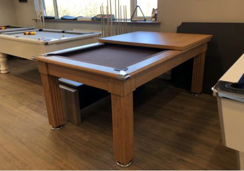 Gatley Traditional Diner Pool Table in Oak with Smart Nutmeg Cloth