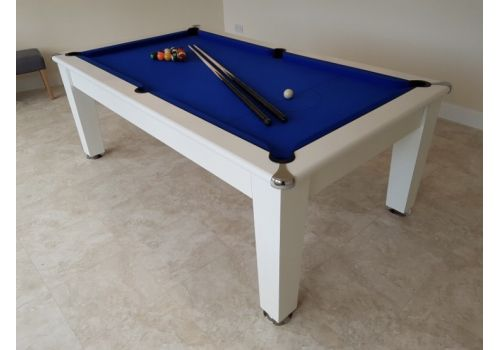 Optima Roma Pool Dining Table in White with Smart Royal Blue Cloth