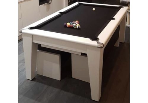 Gatley Classic Diner Pool Table in White with Smart Black + White Benches