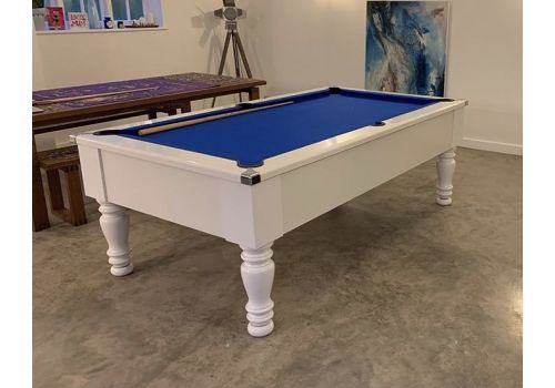 CryWolf Gloss White Classic Leg Pool Table with Smart Royal Blue cloth
