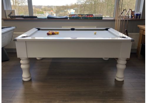 CryWolf Gloss White Turned/Round Leg Pool Table with Elite Pro Bankers Grey