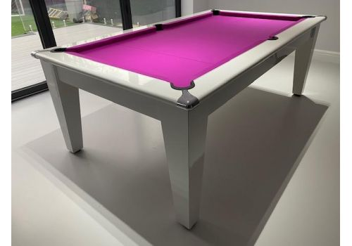 Gatley Classic Diner Slate Bed Gloss White Pool Table with Elite Pro Fuchsia Cloth