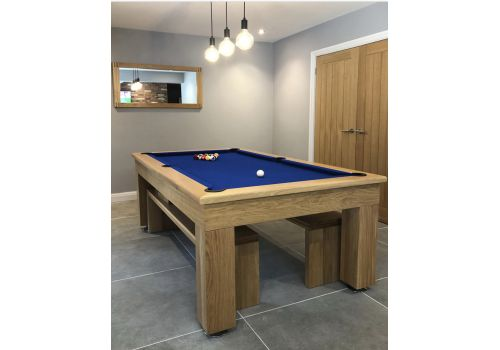 Rex Hardwood | Bonnie Badger | Luxury Slate Pool Dining Table | 6ft & 7ft | Oak with Royal Blue