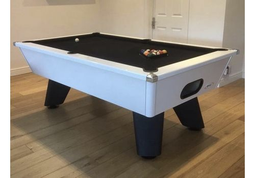 White Wolf Gloss White Tournament Edition Pool Table with smart black cloth