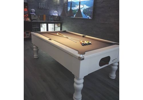 CryWolf Gloss White Turned/Round Leg Pool Table with Smart Pewter