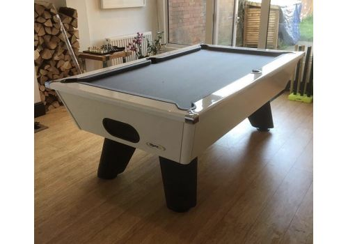 White Wolf Gloss White Original Tournament Edition Pool Table with smart pewter cloth