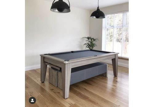 Gatley Classic Diner Pool Table in Driftwood with matching benches and Special Edition Pewter Cloth