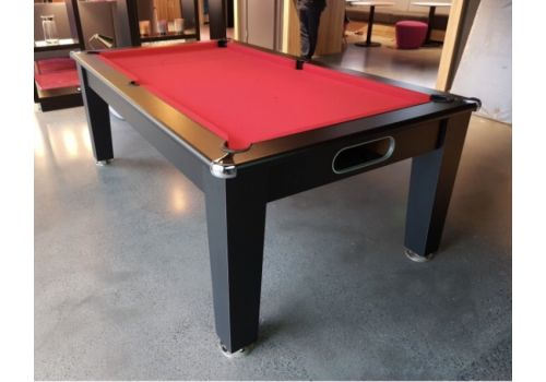 Optima Roma Pool Dining Table in Black with Smart Red Cloth